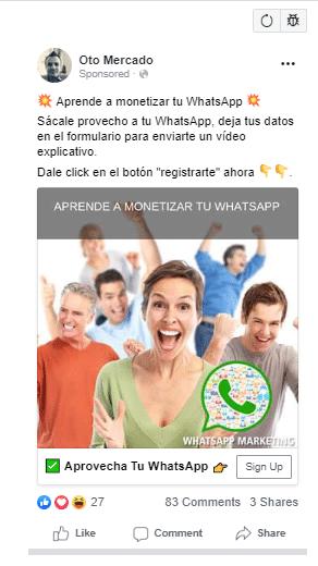 ejemplo de anuncios de pago en Facebook